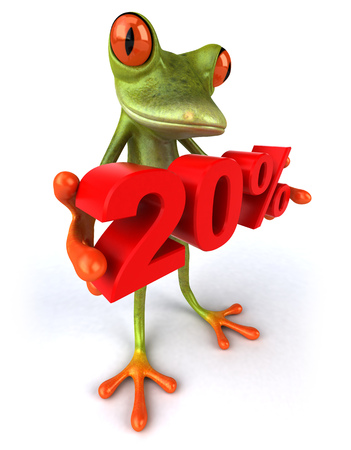croaking: Cartoon frog with 20 percentage