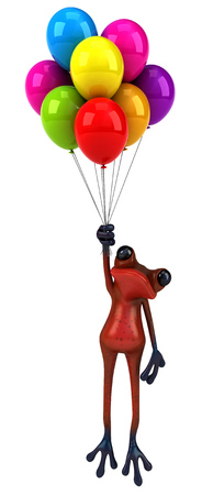 floating: Cartoon frog with balloons Stock Photo