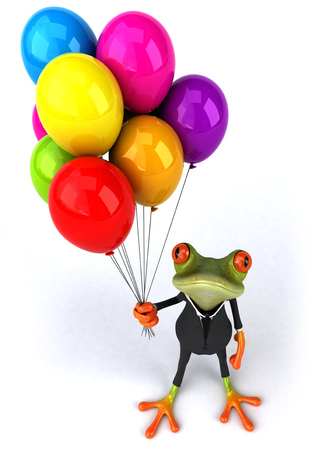 Cartoon frog in suits with balloons