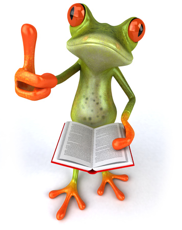 croaking: Cartoon frog with a book showing thumbs up