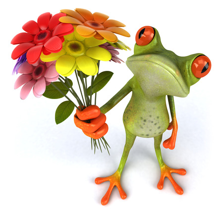 Cartoon frog holding flowers