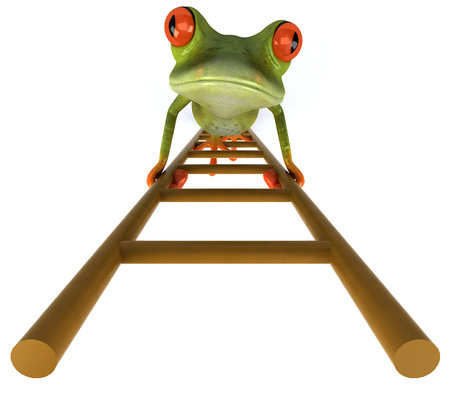Cartoon frog climbing ladders Stok Fotoğraf