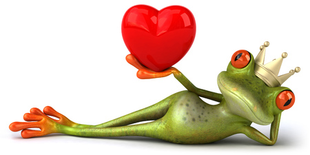 Cartoon frog wearing crown holding heart shape