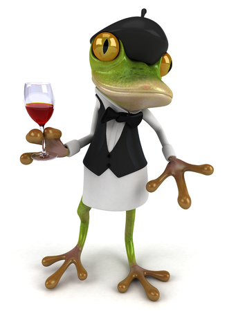 croaking: Cartoon frog with glass of wine