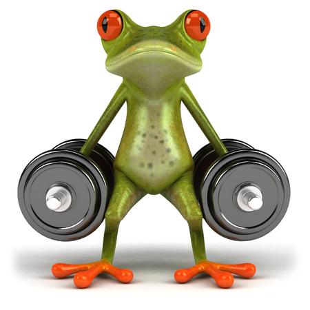 Cartoon frog lifting dumbbells Stock Photo