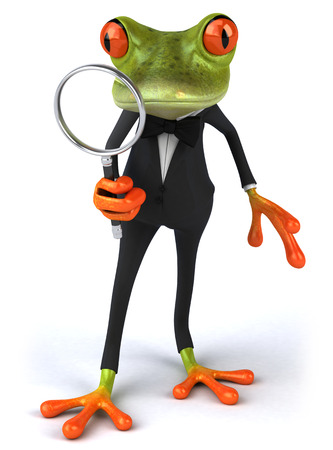 Cartoon frog in a suit with magnifying glass
