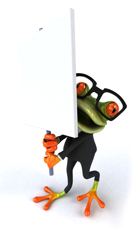croaking: Cartoon frog in a suit holding signboard Stock Photo