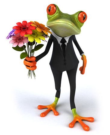 Cartoon frog in a suit holding flowers Stock Photo