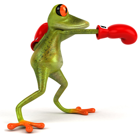 Cartoon frog with boxing gloves