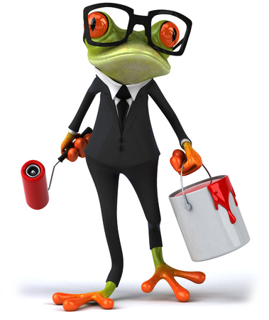 croaking: Cartoon frog in a suit with paint roller