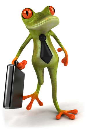 Cartoon frog with tie holding briefcase