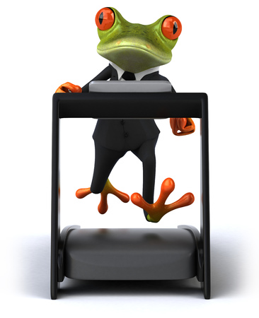 Cartoon frog in a suit on a treadmill