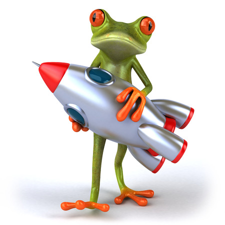 croaking: Cartoon frog with space shuttle