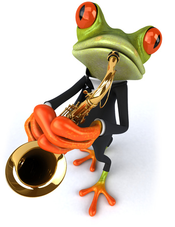 Cartoon frog in suit playing saxophone