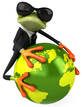 Cartoon frog in suit with sunglasses and world globe