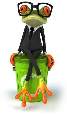 Cartoon frog in a suit with recycling bin Zdjęcie Seryjne
