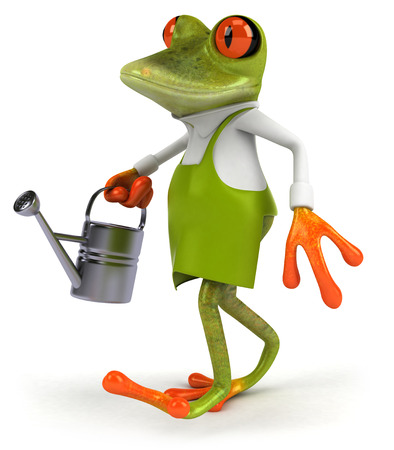 croaking: Cartoon frog with watering can Stock Photo