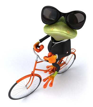 Cartoon frog in a suit riding a bicycle Stok Fotoğraf