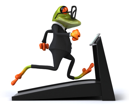 Cartoon frog in suit running on treadmill
