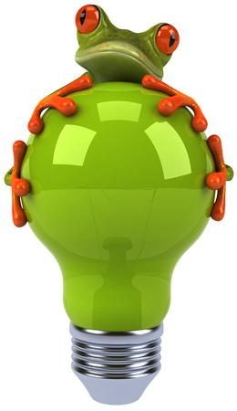 Cartoon frog holding light bulb