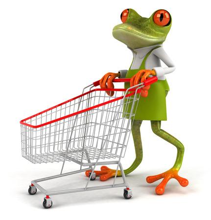 Cartoon frog pushing shopping cart