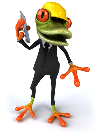 smartphone business: Cartoon frog in a suit with safety hat talking on phone