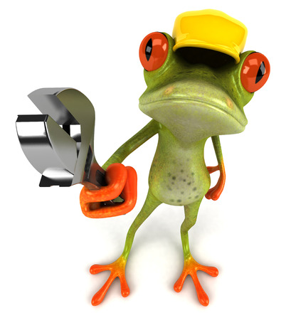 Cartoon frog with a cap holding wrench