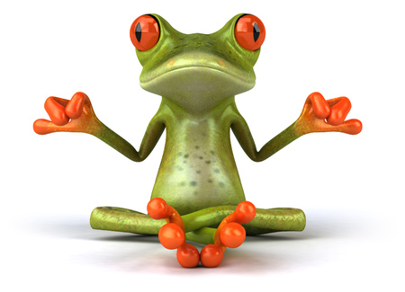 Cartoon frog in meditating pose Banco de Imagens