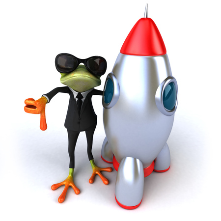 Cartoon frog in a suit with space shuttle showing thumbs down Stock Photo