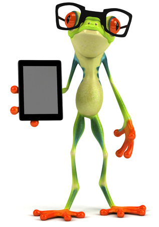 spectacle frame: Cartoon frog with glasses holding digital tablet