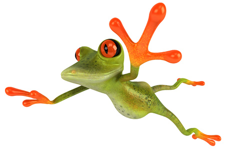 Cartoon frog with a pose
