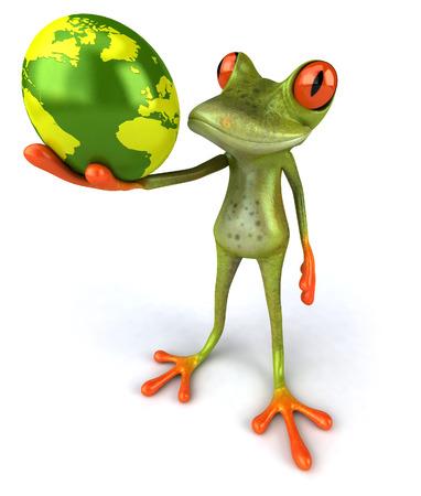 Cartoon frog with egg shaped earth globe Stock Photo