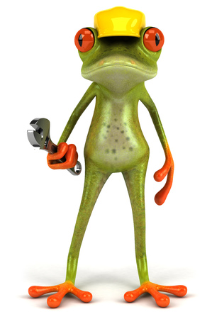 Cartoon frog with wrench and cap Stock Photo