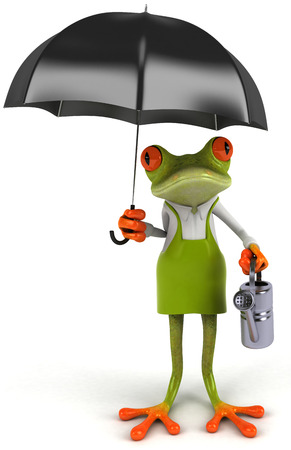 Cartoon frog with umbrella and watering can