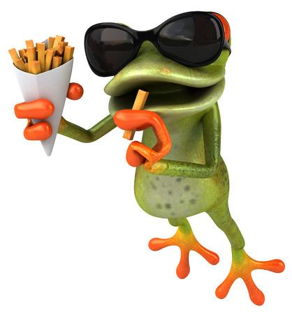 감자 튀김을 먹는 선글라스로 만화 개구리