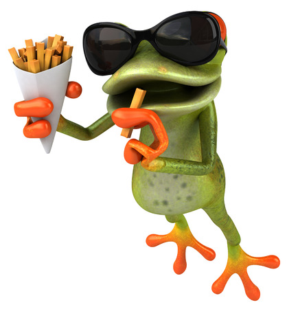 Cartoon kikker met zonnebril die franse frietjes eet