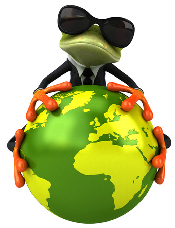 Cartoon frog in a suit holding earth globe