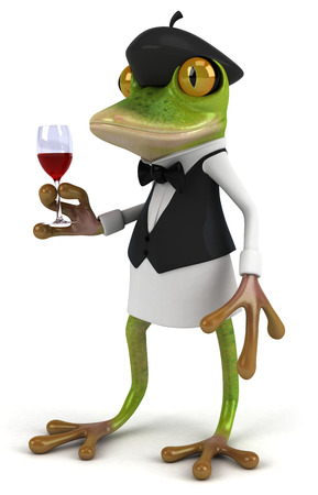 Cartoon frog holding a glass of wine Stock Photo