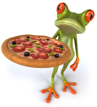 Cartoon frog with a pizza