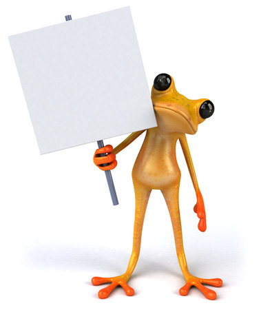 Cartoon frog holding signboard Stock Photo