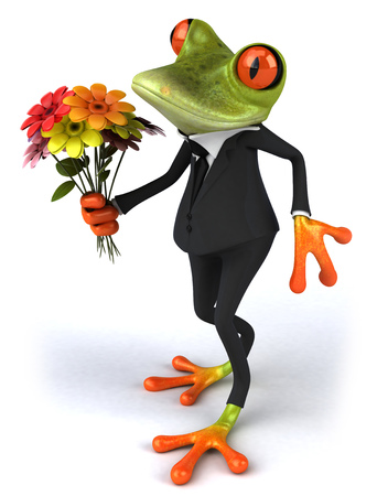 Cartoon frog in a suit with flowers