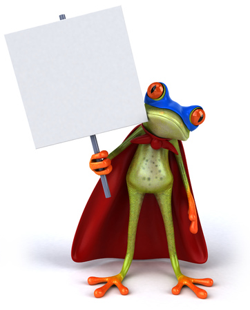 Cartoon frog in superhero costume with signboard Stock Photo