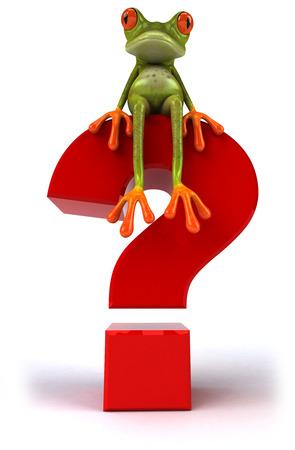 Cartoon frog sitting on question mark