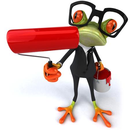페인트 롤러와 페인트 양동이와 소송에서 만화 개구리