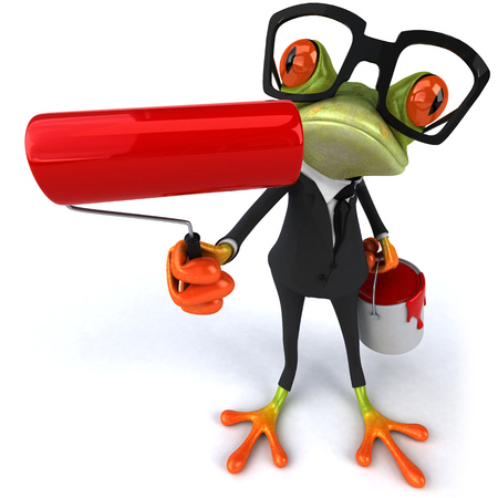 spectacle frame: Cartoon frog in a suit with paint roller and paint bucket Stock Photo