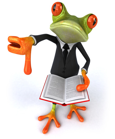 Cartoon frog in a suit with a book