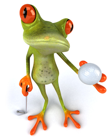 computer club: Cartoon frog with golf ball and golf club Stock Photo