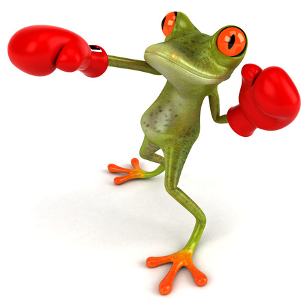 Cartoon frog doing boxing
