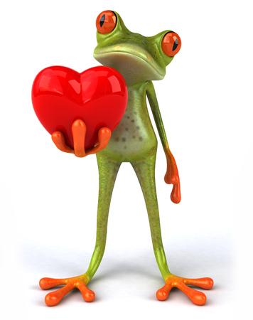 Cartoon frog with heart shape
