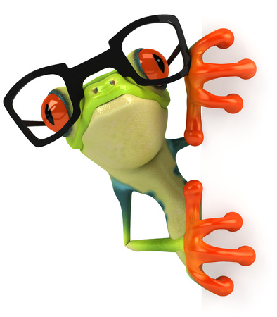 Cartoon frog with glasses Stock Photo